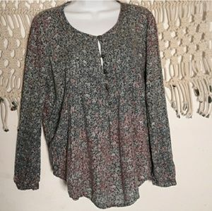 Lucky Brand dainty floral ombre pop over top